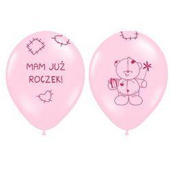 """Balony z nadrukiem dla dziewczynki """"Mam już roczek"""" - 37 cm - 5 szt."""