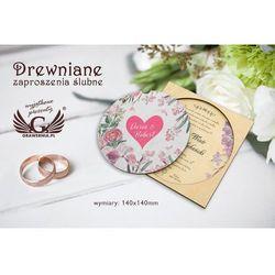 Zaproszenia ślubne z drewna - cyfrowy druk UV - ZAP015