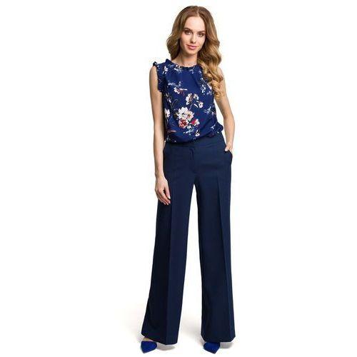 Spodnie damskie, Eleganckie Szerokie Granatowe Spodnie w Kant