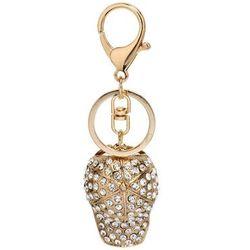Złoty breloczek - czapeczka z daszkiem z kryształkami