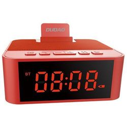 Dudao bezprzewodowy głośnik z AUX zegarek, radio FM i budzik + czytnik kart micro SD czerwony (Y5 red) - Czerwony