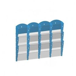 Plastikowy uchwyt ścienny na ulotki - 4x3 A4, niebieski