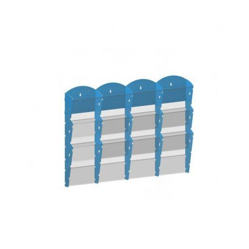 Ramy,stojaki i znaki informacyjne, Plastikowy uchwyt ścienny na ulotki - 4x3 A4, niebieski