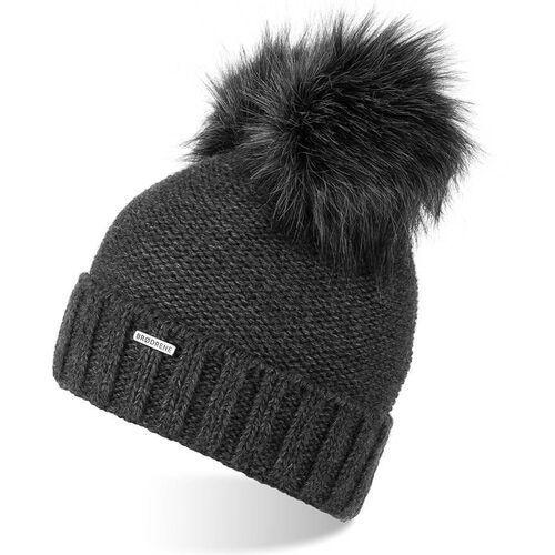 Nakrycia głowy i czapki, Czapka damska zimowa z polarem i pomponami brodrene cz22 ciemnoszara - c.szary