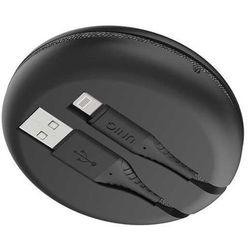 UNIQ kabel MFI Halo Lightning 2.4A nylonowy zwijany 1,2m czarny/midnight black - Czarny