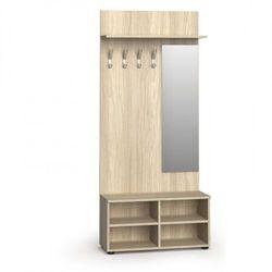 Garderoba z szafką na buty i lustrem, 4 haczyki, półka, dąb naturalny