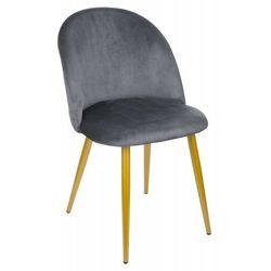 Krzesło Welurowe FOGGIE GRAFITOWE Złote Nogi