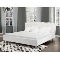 Łóżka, Łóżko białe skóra ekologiczna 180 x 200 cm ze schowkiem METZ