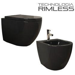 Muszla wc VERA-BL RIMLESS +bidet +deska