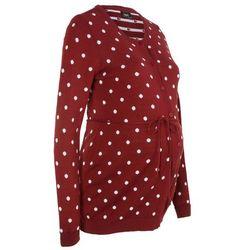 Sweter ciążowy rozpinany w kropki bonprix czerwony kasztanowy