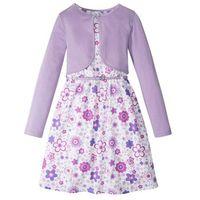 Zestawy odzieżowe dziecięce, Sukienka + pasek + bolerko (3 części) bonprix biało-kolor bzu wzorzysty