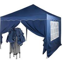 Namioty ogrodowe, EKSPRESOWY NIEBIESKI PAWILON NAMIOT OGRODOWY 3X3 M + 2 ŚCIANKI - Niebieski (odcień granatowy)