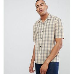 ASOS DESIGN Tall oversized boxy check shirt in brown with revere collar - Brown