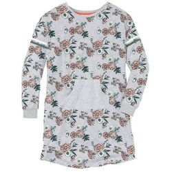Koszula nocna z kieszonką kangurką bonprix jasnoszary melanż z nadrukiem