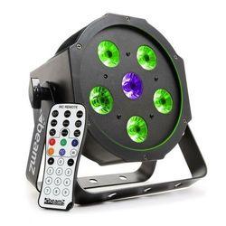 Beamz BFP110 Projektor FlatPAR LED 3-w-1 5x 6 W RGB-LED DMX pilot na podczerwień