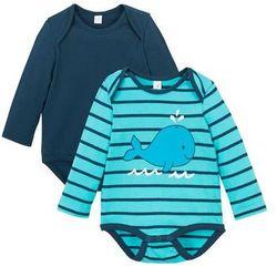 Body niemowlęce z długim rękawem (2 szt.), bawełna organiczna bonprix morski + ciemnoniebieski