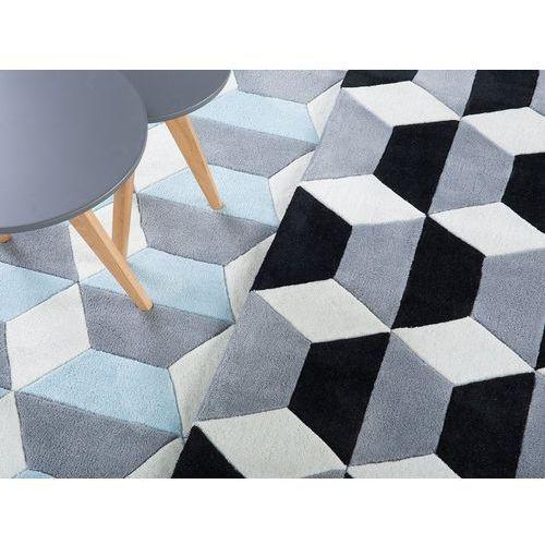 Dywany, Dywan czarno-szaro-biały 140 x 200 cm krótkowłosy ANTALYA