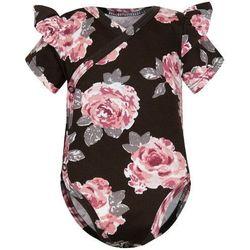 Body kopertowe niemowlęce z krótkim rękawem Brązowe Róże - Dolce Sonno