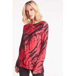 Czerwono-czarna bluzka z długim rękawem - Duet Woman