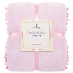 Narzuta na łóżko z pomponami, pled 160x200 cm koc na kanapę różowy