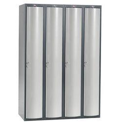 Szafa szatniowa Curve 4 sekcje 4 drzwi 1740x1200x550 mm jasnoszary meta