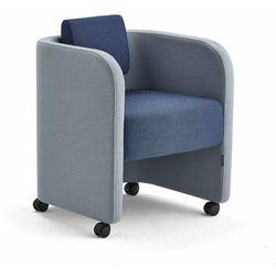 Fotel COMFY, na kółkach, wełna, błękit nieba/morski
