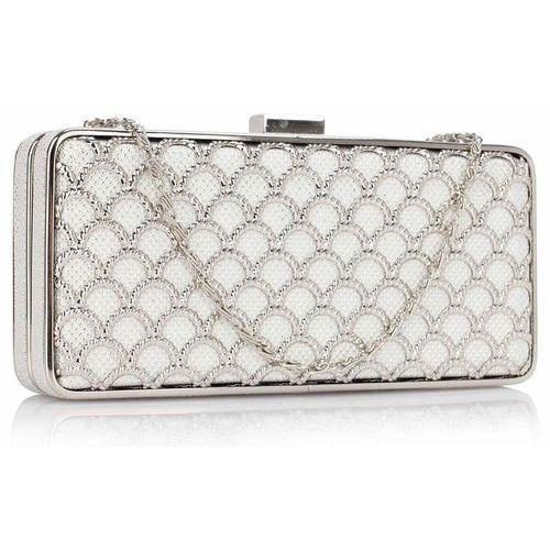 Torebki, Luksusowa ażurowa torebka wizytowa biała ze srebrem - biały   srebrny