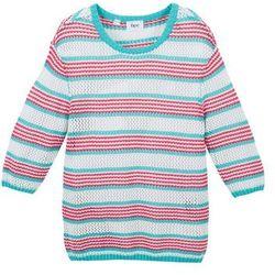 Sweter dziewczęcy w paski bonprix różowo-morski-biel wełny w paski