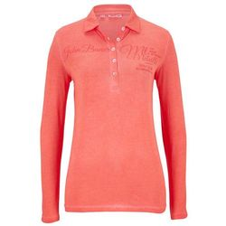 Shirt polo z nadrukiem, długi rękaw bonprix łososiowy pomarańczowy