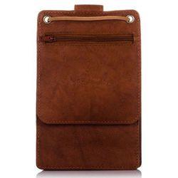 Skórzana saszetka męska na szyję paszportówka brązowa - brązowy