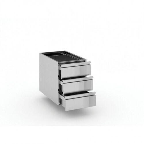 Szafki i regały gastronomiczne, Pojemnik z szufladami ze stali nierdzewnej, 3 szuflady, 400x660x528 mm