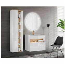 Zestaw mebli łazienkowych z oświetleniem LED Monako 2Q 60 CM - Biały połysk