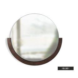 SELSEY Lustro Adalwolf z półkolistą ciemną drewnianą ramą średnica 53 cm