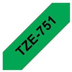 BROTHER Taśmy do drukarek TZ laminowane 24mm x 8m, czarny/zielony