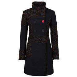 Płaszcz w połączeniu różnych materiałów i wzorów bonprix czarno-kolorowy