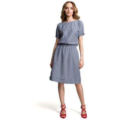 Suknie i sukienki, Granatowa Casualowa Sukienka w Drobną Krateczkę