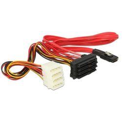 Delock 83059, [1x złącze męskie mini-SAS (SFF-8087) - 4x złącze męskie SATA 15+7-pin, złącze męskie IDE 4-pin]