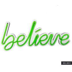 SELSEY Neon na ścianę Letely z napisem Believe zielony