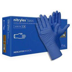 Diagnostyczne i ochronne rękawice nitrylowe MercatorMedical Nitrylex basic, bezpudrowe, niebieskie, 100 szt. – roz. XL