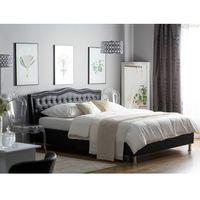 Łóżka, Łóżko czarne skóra ekologiczna podnoszony pojemnik 180 x 200 cm METZ