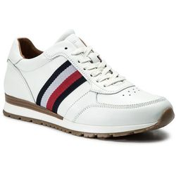 Sneakersy TOMMY HILFIGER - Luxury Corporate Leather Runner FM0FM00960 White 100