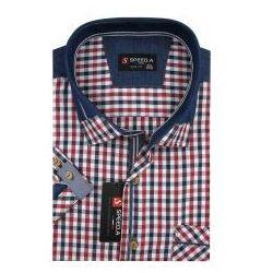 Koszula Męska Speed.A czerwona w kratkę z dodatkami jeans SLIM FIT na krótki rękaw K724
