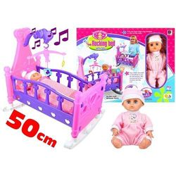 Łóżeczko dla lalek z pościelą karuzelka + lalka