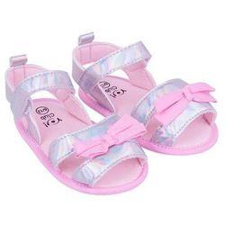 Sandałki dziewczęce błyszczące z kokardką szare 0-6 miesięcy