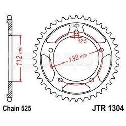 Zębatka tylna stalowa JT 1304-47, 47Z, rozmiar 525 2300867 Honda CBF 600, CBF 500