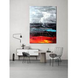 obrazy do salonu - ręcznie malowane - czerwony, biały, czarny, niebieski rabat 10%