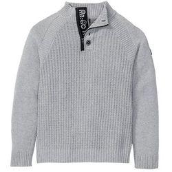 Sweter ze stójką z bawełny z recyklingu bonprix szary melanż