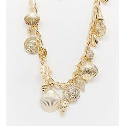 Reclaimed Vintage inspired multi coin & shell charm necklace - Gold