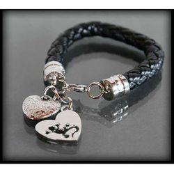 Skórzana czarna bransoletka z charmsami YOUNG - czarny