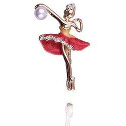 Broszka damska baletnica z perłą czerwona - czerwony ||żółty